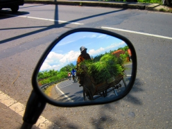 a man with his becak inside the rearview mirror when I was on the way home from Semarang