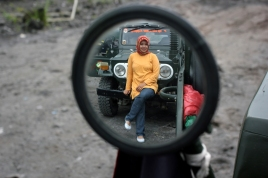 jeep and the model inside the rearview mirror